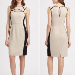 NWOT BCBG Khaki and Black Structured Cut Out Dress
